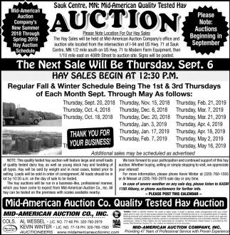 Hay Sales Begin at 12:30 P.M