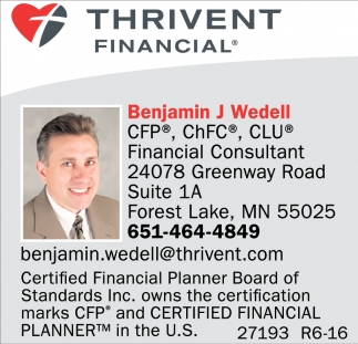 Financial Consultant Thrivent Financial Benjamin Wedell Forest