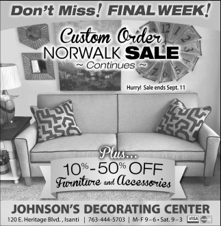 Custom Order Norwalk Sale Continues Johnsons Decorating Center
