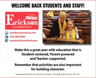 Welcome Back Students and Staff!