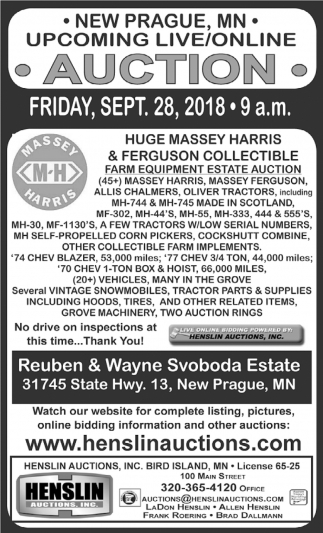 Upcoming Live/Online Auction