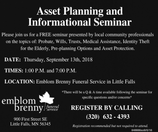 Asset Planning and Informational Seminar
