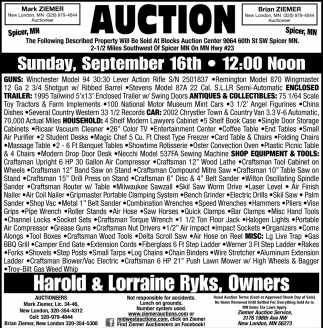 Auction Sunday, September 16th