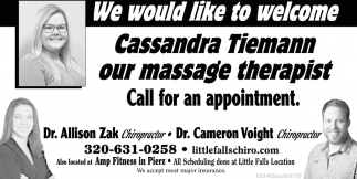We Would Like to Welcome Cassandra Tiemann Our Massage Therapist