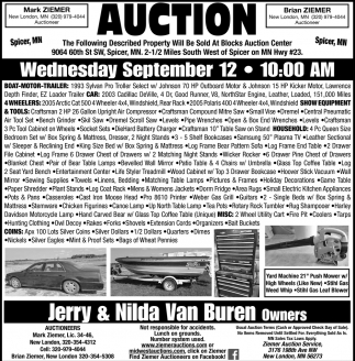 Auction Wednesday September 12