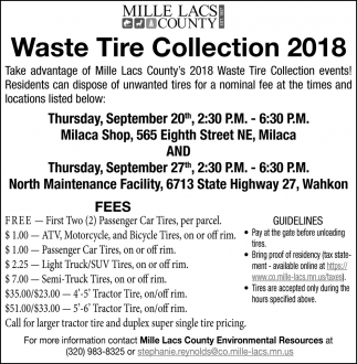 Waste Tire Collection 2018