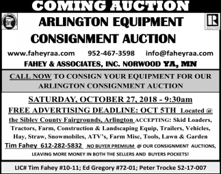Arlington Equipment Consignment Auction