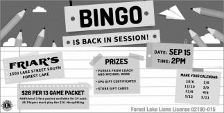 Bingo is Back in Session!