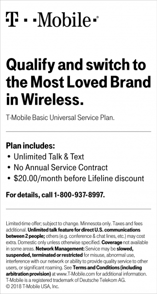 T-Mobile Basic Universal Service Plan