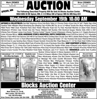 Auction Wednesday September 19th
