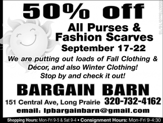 50% OFF All Purses & Fashion Scarves