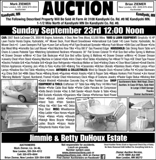 Auction Sunday September 23rd