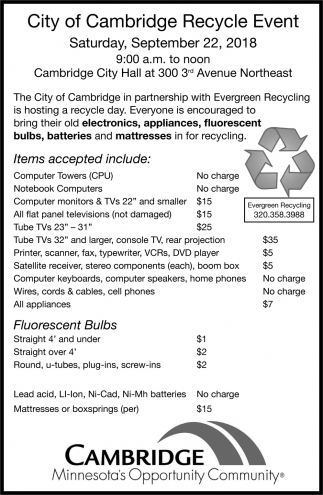 City of cambridge Recycle Event