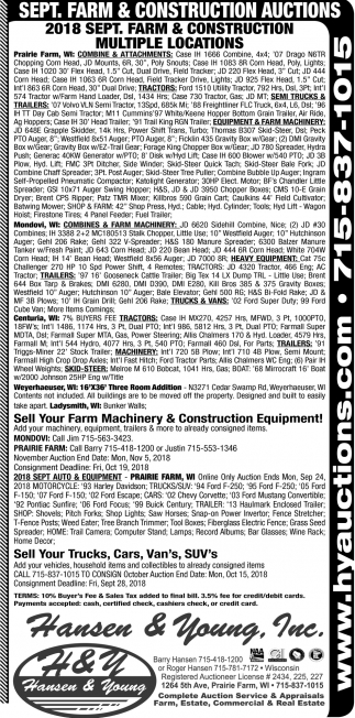 Sept. Farm & Construction Auctions