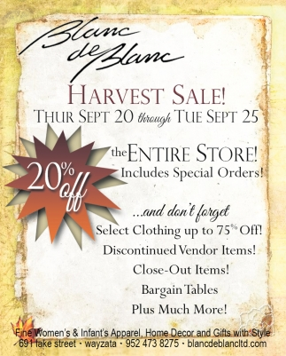 Harvest Sale!
