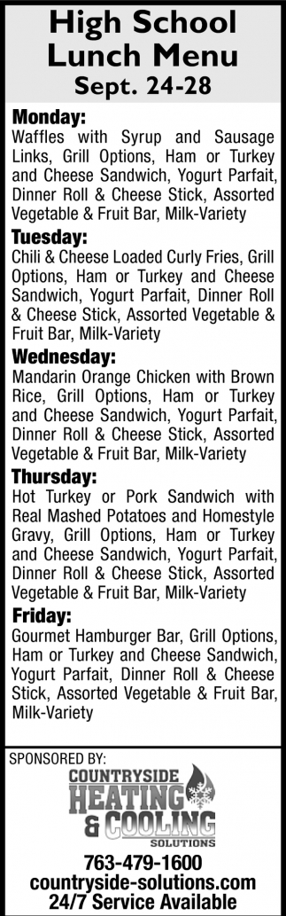 High School Lunch Menu