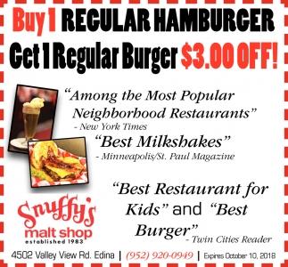 Buy 1 Regular Hamburger and Get 1 Regular Burger $3.00 OFF!