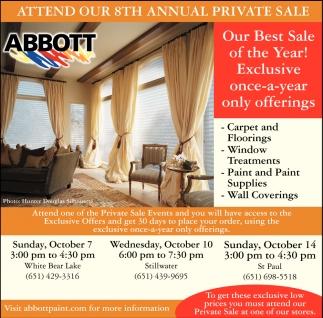 Attend Our 8th Annual Private Sale, Abbott Paint & Carpet, Saint Paul, MN