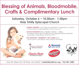 Blessing of Animals, Bloodmobile, Crafts & Complimentary Lunch