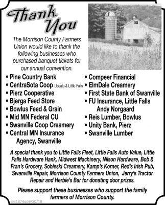 Thank You, Morrison County Farmers Union Annual Convention