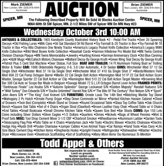 Auction Wednesday October 3rd