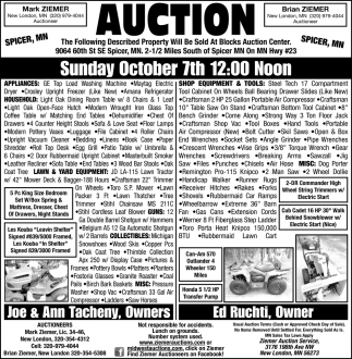 Auction Sunday October 7th