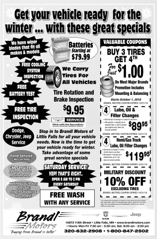 Get Your Vehicle Ready for the Winter... with these Great Specials