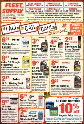 Fall Car Care Specials