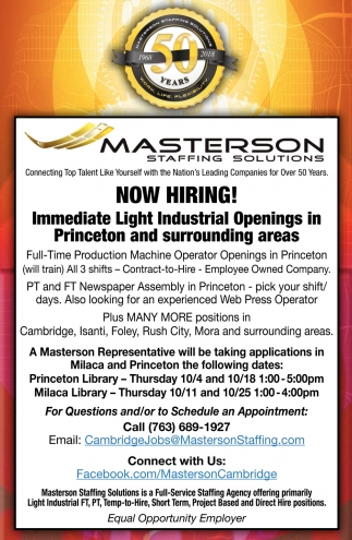 Immediate Light Industrial Openings in Princeton and Surrounding Areas