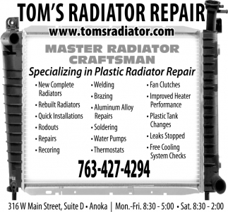 Specializing in Plastic Radiator Repair