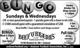 Bingo Sundays & Wednesdays
