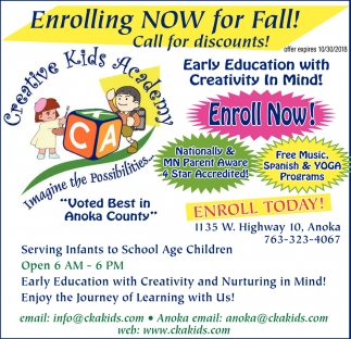 Early Education with Creativity in Mind!