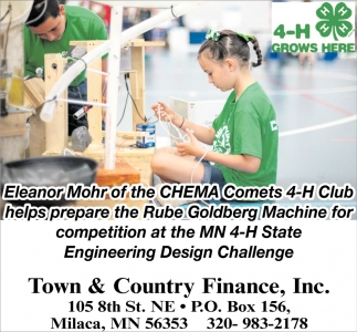 Eleanor Mohr of the Chema Comets 4-H Club Helps Prepare the Rube Goldberg Machine for Competition at the MN 4-H State Engineering Design Challenge
