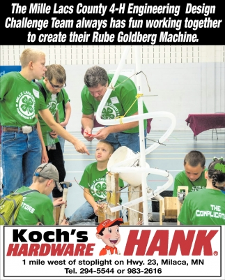 The Mille Lacs County 4-H Engineering Design Challenge Team Always has Fun Working Together to Create their Rube Goldberg Machine