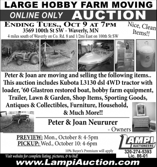 Large hobby Farm Moving Online Only Auction