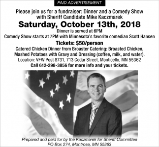 Dinner and a Comedy Show with Sherifff Candidate Mike Kaczmarek