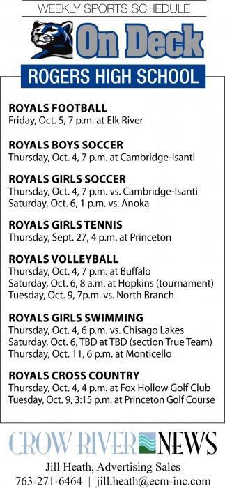 Weekly Sports Schedule