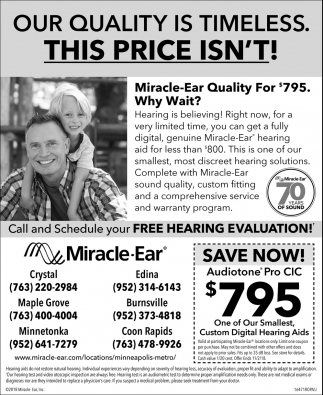 Call and Schedule Your FREE Hearing Evaluation!