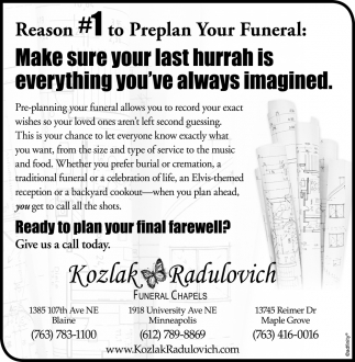 Reason #1 to Preplan Your Funeral