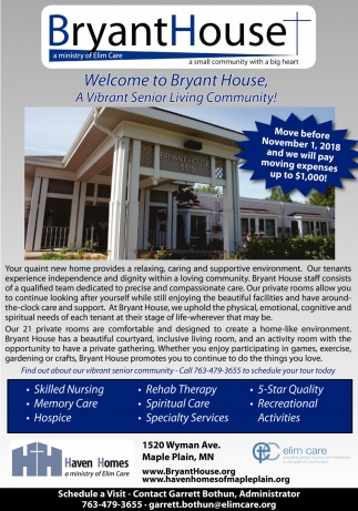 Welcome to Bryant House, A Vibrant Senior Living Community!