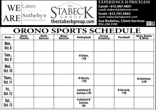 Orono Sports Schedule