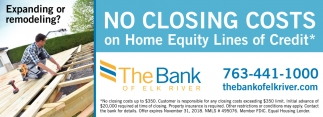 No Closing Costs on Home Equity Lines of Credit