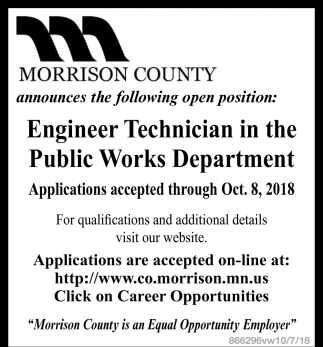 Engineer Technician in the Public Works Department