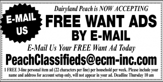 Now Accepting FREE Want Ads by E-Mail