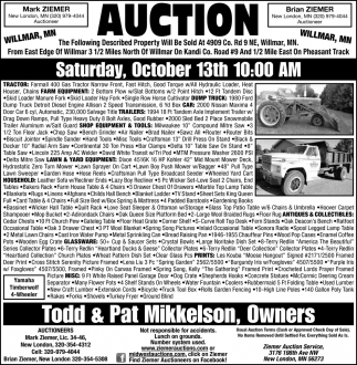 Auction Saturday October 13th