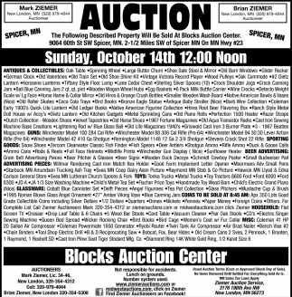 Auction Sunday October 14th