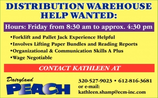 Distribution Warehouse Help Wanted