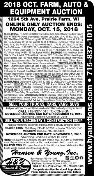 2018 Oct. Farm, Auto & Equipment Auction