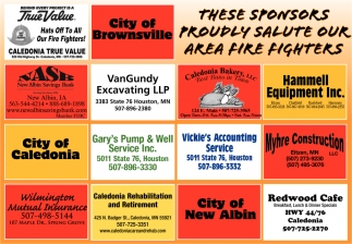 These Sponsors Proudly Salute Our Area Fire Fighters