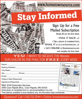 Sign Up for a Free Mailed Subscription